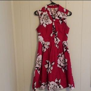 Anthropologie Maeve Red Floral Shirt Dress